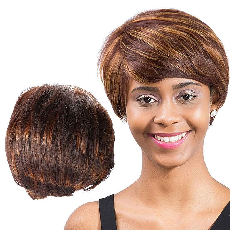 宇宙の亜熱帯ホース前髪、白または黒の女性のコスプレのための耐熱性のある人工的なストレートの髪のセムブラウンショートウィッグ