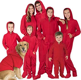 Footed Pajamas - Family Matching Chilli Red Hoodie Onesies for Boys, Girls, Men, Women and Pets