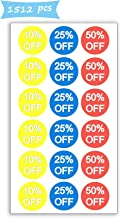 10% 25% 50% Off Sale Price Stickers Labels Percent Off Stickers for Retail Store Clearance Promotion Discount Deals Circle Pricemarker Half Off Labels Stickers roll 1500 (3/4 inch, Multi)
