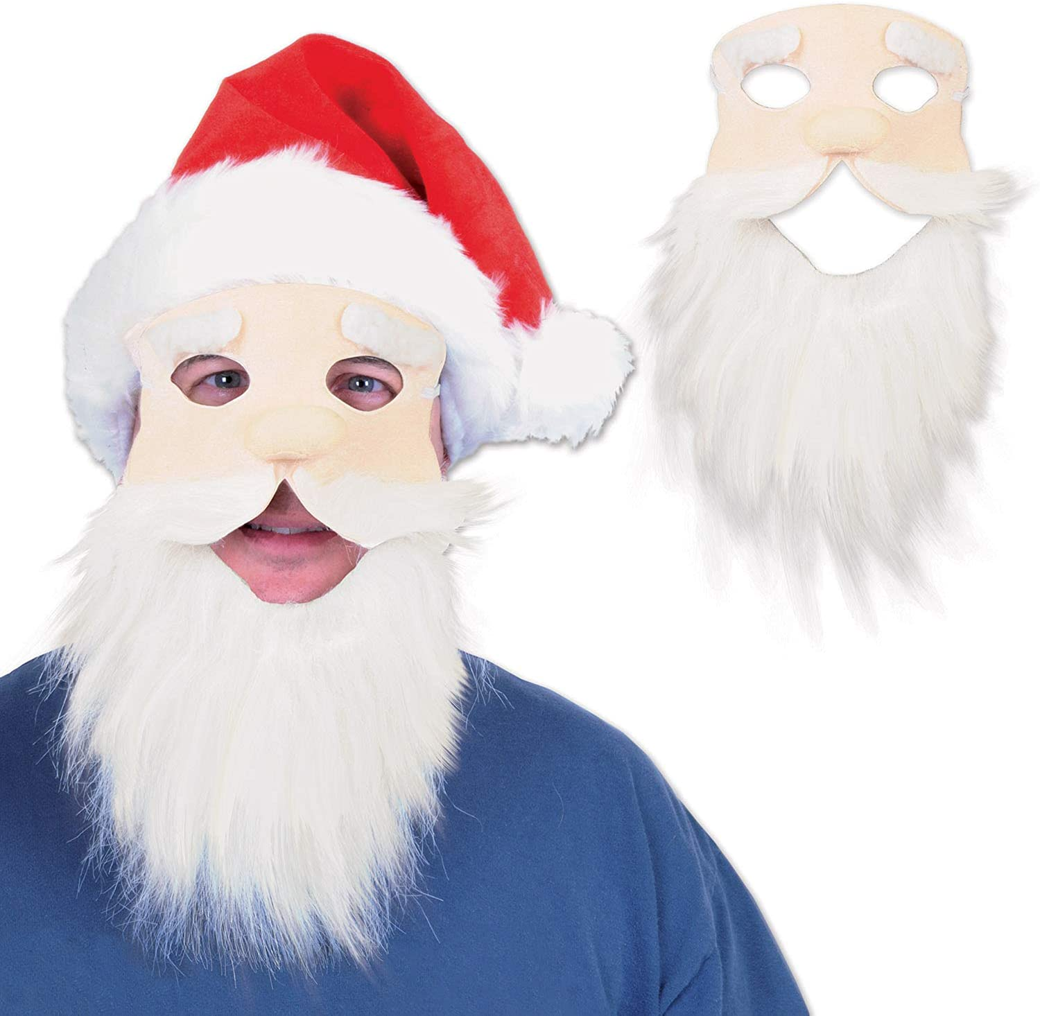 Pack of 12 Fuzzy Bearded Face Hat Cheap SALE Start Santa Great interest Christmas with Red Masks