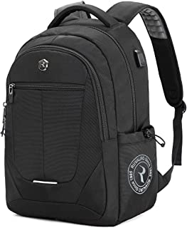 Laptop Backpack, Large Business Laptop Bag with USB Charging Port, Water Resistant College School Back Pack Travel Computer Bag Fits up to 15.6 Inch Laptop and Notebook (Black)