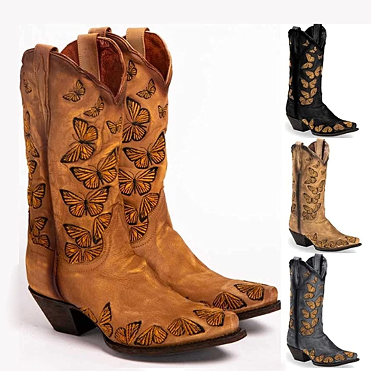 Cowboy Boots for Womens Square Toe Embroidery Low Chunky Heel Pull-Up Tabs Knee High Western Cowgirl Boot National Style Wedding Mid Calf Buckle English Riding Equestrian Boots