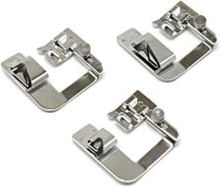 3 Pcs (1/2'',3/4'',1'') Adjustable Wide Rolled Hemmer Presser Foot Kit for Low Shank Sewing Machine, Singer, Baby Lock, Brother, Janome, etc.