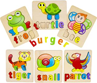 AUBECO Wooden Toddler Puzzles with Words for Boys Girls, Baby Early Learning Preschool Educational Montessori Animals Toys...