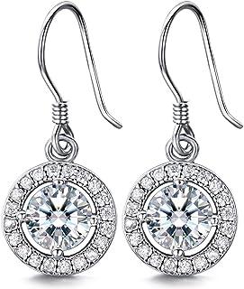 J.SHINE 925 Sterling Silver Drop Dangle Earrings Woman Hook Stud Earrings with 3A 6MM Cubic Zirconia Earrings