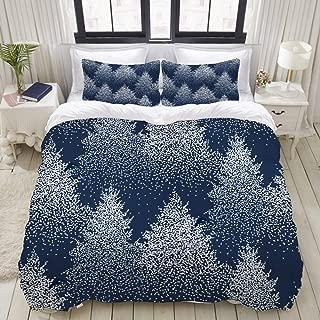 Mokale Queen Size Duvet Cover,Winter Seamless Pattern Fir Trees Pines,Decorative 3 Piece Bedding Set with 2 Pillow Shams,Zipper Closure,Ultra Soft 90