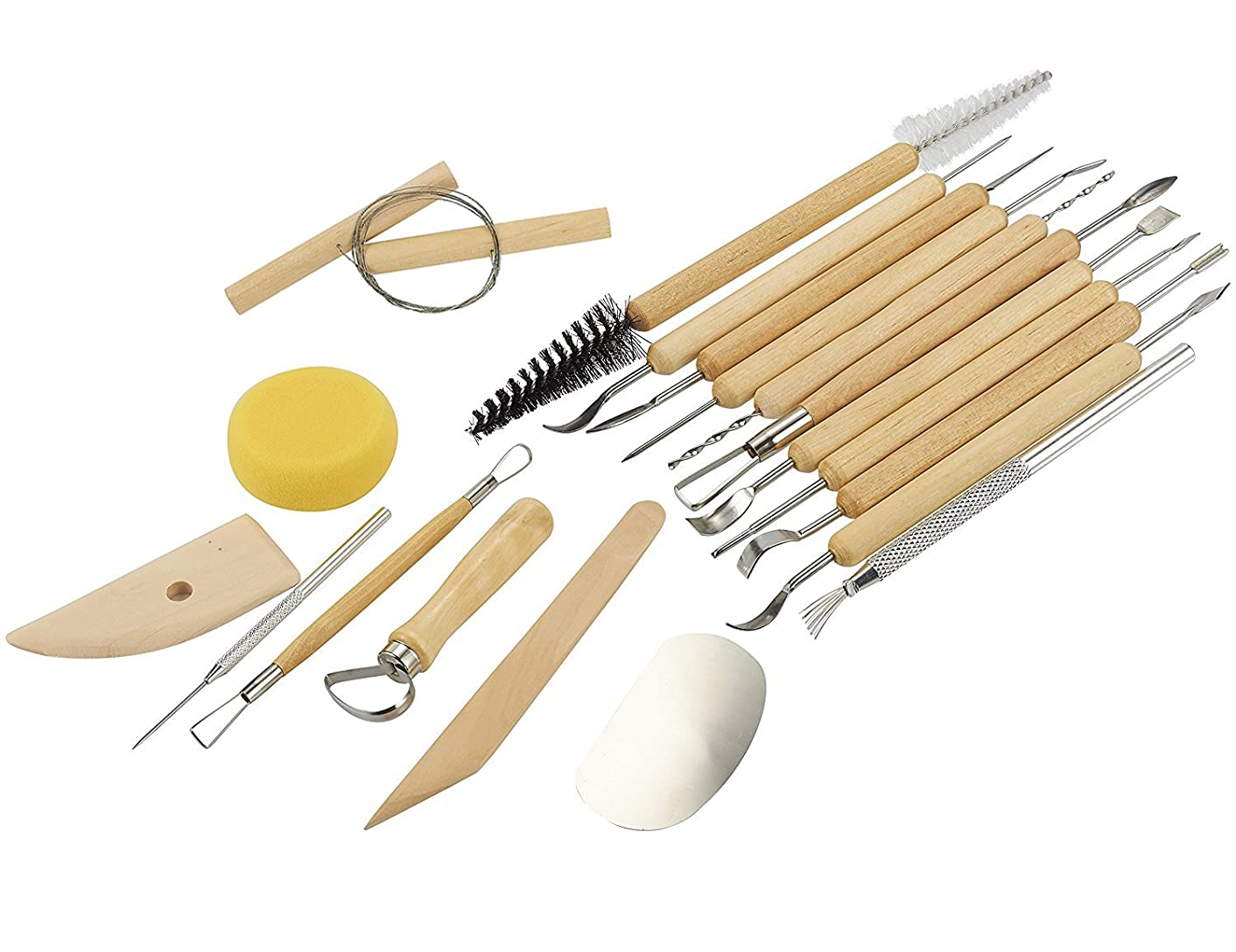 Sculpting Tools - 19-Piece Pottery Carving Tools Set - Double-Sided Ceramic Modeling Tools for Clay and Wood Sculptures - for Beginners Professional Art Crafts - Steel and Hard Wood Handles