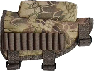 KIKIGOAL Rifle Buttstock, Hunting Shooting Tactical Cheek Rest Pad Ammo Pouch with 10 Shells Holder