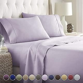 Noble Comfort Juego de sábanas de Lino Suave y Lujoso, 4 Piezas, 100% algodón Egipcio, 20 cm de Profundidad, patrón sólido de 500 Hilos, Colores (Euro King IKEA, Lavanda).