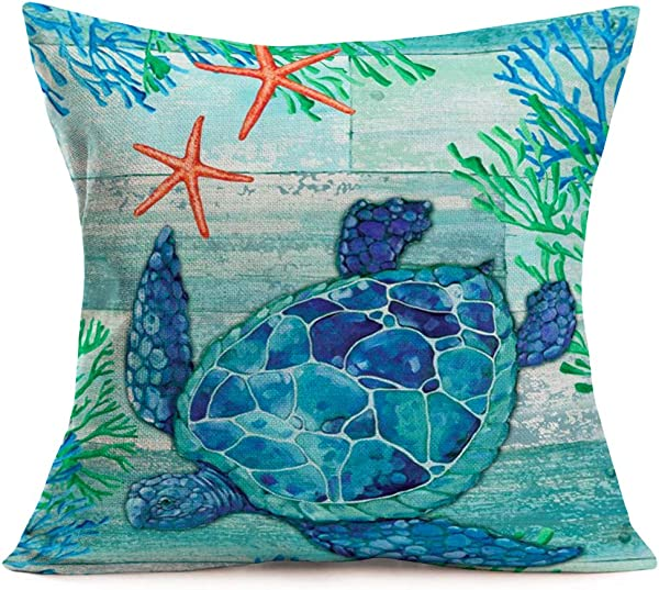 Qinqingo Watercolor Sea Turtle Animal With Wood Grain Print Cotton Linen Sea Ocean Coastal Coral Starfish Decorative Throw Pillow Case Square Cushion Cover 18 X 18 Inches W Turtle2