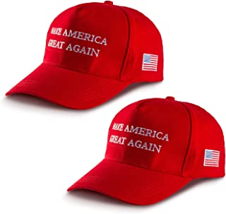 2 Pack MAGA Hat Make America Great Again Hat Donald Trump Slogan Baseball Cap with USA Flag for Men Women Red, Large