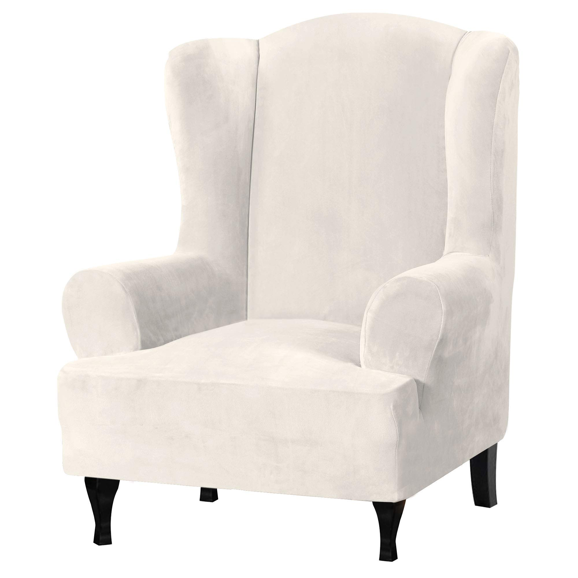 Velvet Plush Stretch Wingback Chair Covers Wing Chair Slipcover Wing Chair Covera Furniture Covers For Wingback Chairs Living Room Feature Soft Thick Smooth Fabric Machine Washable Off White Kitchen Dining
