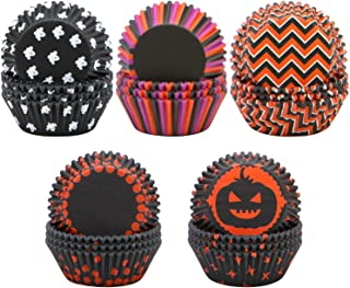 Elcoho 500 Pieces Halloween Cupcake Liners Baking Cups Cupcake Wrappers for Halloween Party Decorations, 5 patterns