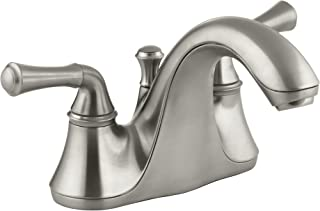 KOHLER K-10270-4A-BN Forte Centerset Lavatory Faucet with Traditional Lever Handles, Vibrant Brushed Nickel