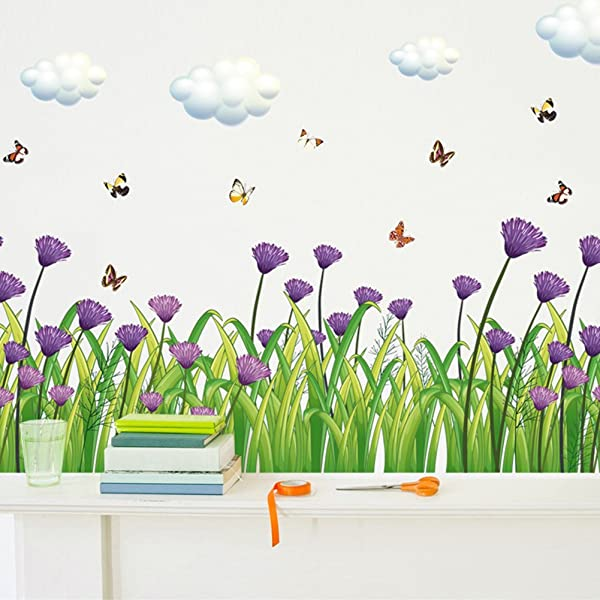 Wmdecal Removable Grass Flowers And Butterfly Vinyl Wall Decals Green Garden Wall Art Decoration Stickers For Kids Room