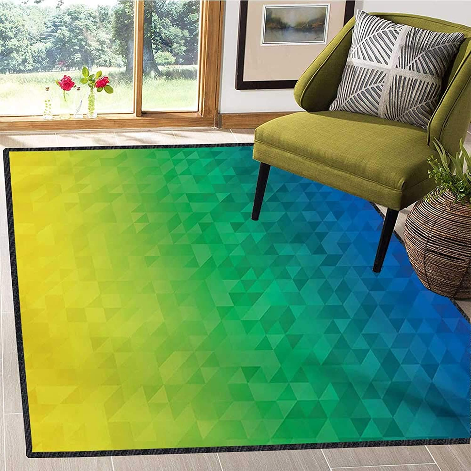 Yellow and bluee, Door Mats for Inside, Ombre Inspired Abstract Fractal Mosaic Form in Brazil Flag colors, Door Mats for Inside Non Slip Backing 4x5 Ft bluee Green Yellow