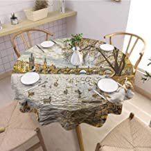 Landscape Oil Resistant and Durable Round Table Cover Prague Charles Bridge and Old Town Czech Republic Riverside Scenic View with Swans Kitchen Available D43 Inch Round Gold Grey