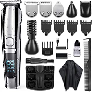 Beard Trimmer, KIKOMO [Upgrade Version] 16 in 1 Cordless Hair Clipper Mustache Nose Ear Hair Trimmer Body Groomer Kit for Men with LED Display |Dual Charging Ways |Two Speed Modes |IPX7 Waterproof