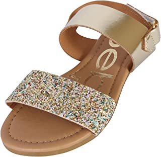 ff40bad6e4c bebe Girls Metallic Sandals with Chunky Glitter Strap (Little Kid Big Kid)