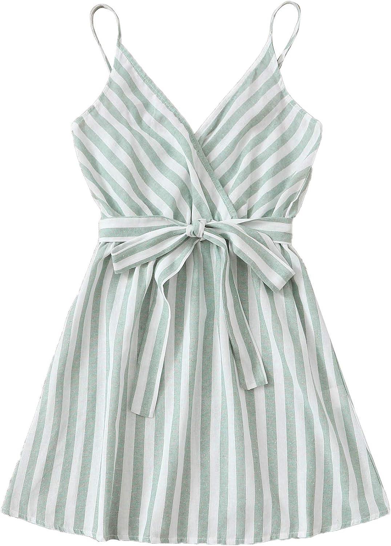 Romwe Women's Cute Sleeveless Striped Belted Wrap Summer Cami Tank Mini Dress
