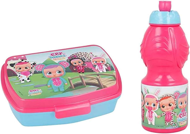 SL Pack 2pcs Botella de Agua plastico Infantil 400ml- Fiambrera sandwicheras para niños, cantimplora a Prueba de Fugas sin BPA
