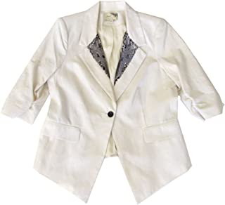Elizabeth & James Off-White Beaded Lapel Jacket