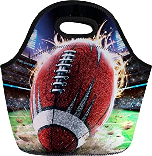 Coloranimal Big Capacity Neoprene Lunch Bag American Football Pattern Insulated Lunchbox