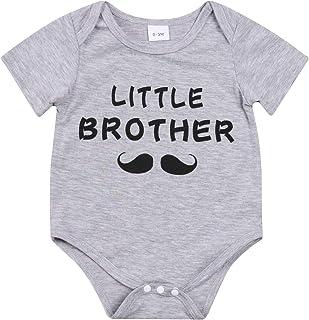 الوليد عارضة أخي الصغير رسالة رومبير الرضع قصيرة الأكمام جولة الرقبة playsuit بالجملة (Color : Gray, Kid Size : 6M)