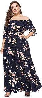 Boat Neck Boho Plus Size Dress Evening Dress, Beach Skirt Maxi Dress