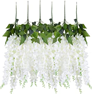 U'Artlines Wisteria Artificial 2.3 Feet/Piece Hanging Wisteria Vine Fake Flower Bush String Home Party Wedding Decoration,Pack of 4, White