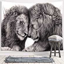 Animal Lion Tapestry Wall Hanging, African Wild Life Lion Couple Lover Black and White Art Premium Home Art Wall Decor, Upgrade Tapestries for Bedroom Living Room College Dorm 80X60 Inches