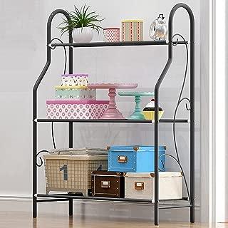 LBYMYB 3-storey Shelves  Kitchen Floor Bathroom Bedroom Living Room Storage Shelves  Black  L70 3cm W24 3cm H83cm  Carrying 20kg Shelf