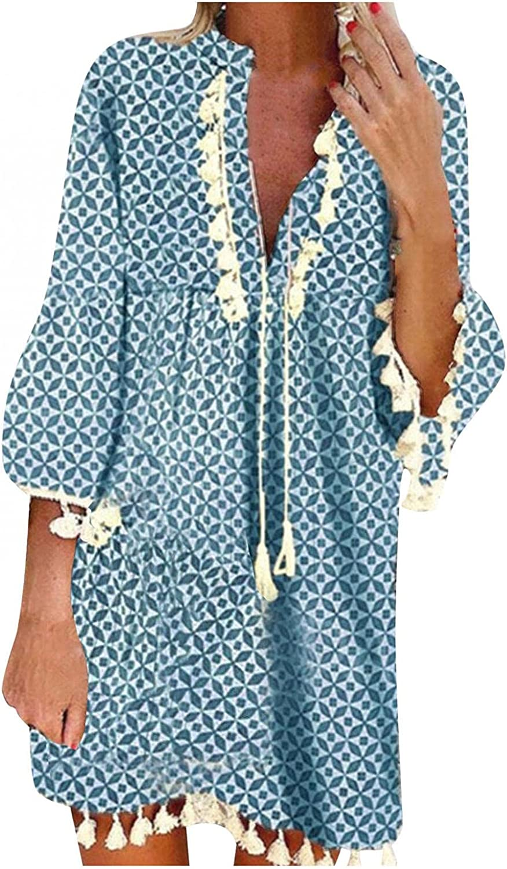 STKOOBQ Women's Long Sleeve Tassel Hem Loose Tunic T-Shirt Dress Deep V-Neck Floral Printed Swing Pleated Party Mini Dresses