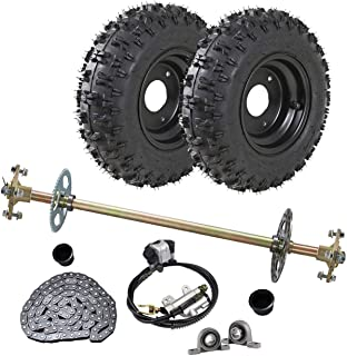 WPHMOTO Go Kart Rear Axle Assembly Complete Wheel Hub Kit & 4.10-6 Tires With Rim & Brake Assembly & T8F Chain for Quad Trike Drift Bikes