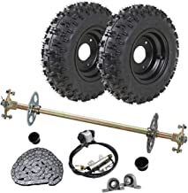 WPHMOTO Go Kart Rear Axle Assembly Complete Wheel Hub Kit & 4.10-6 Tires With Rim & Brake Assembly & T8F Chain for Quad Trike Drift Bikes