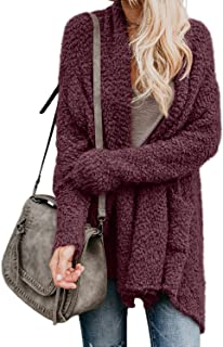 Women's Long Sleeve Chunky Knit Sweater Open Front Cardigan Outwear with Pockets