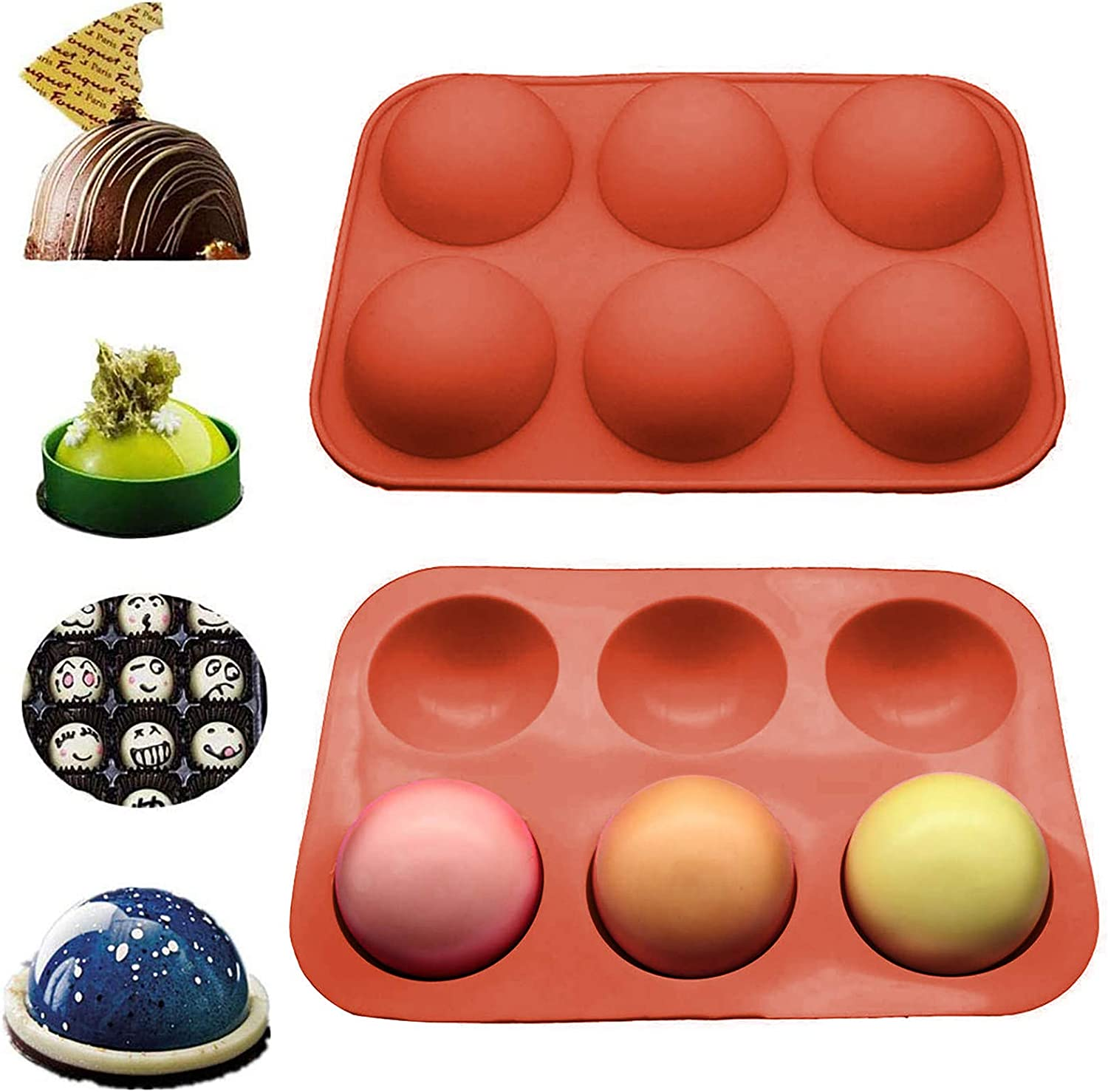 Blue-1pc Chocolate Bomb Mold Cocoa Bomb Silicone Mold Baker Mold for Hot Chocolate Silicone Molds for Chocolate Bombs 6 Holes Half Ball Sphere Silicone Pastry /& Baking Mold for DIY Baking