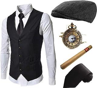 مجموعة إكسسوارات أزياء العشرينيات للرجال - جاتسبي آيفي نيوزبوي قبعة ، سترة رجل العصابات 1920 ، سجائر بلاستيكية ، ربطة عنق