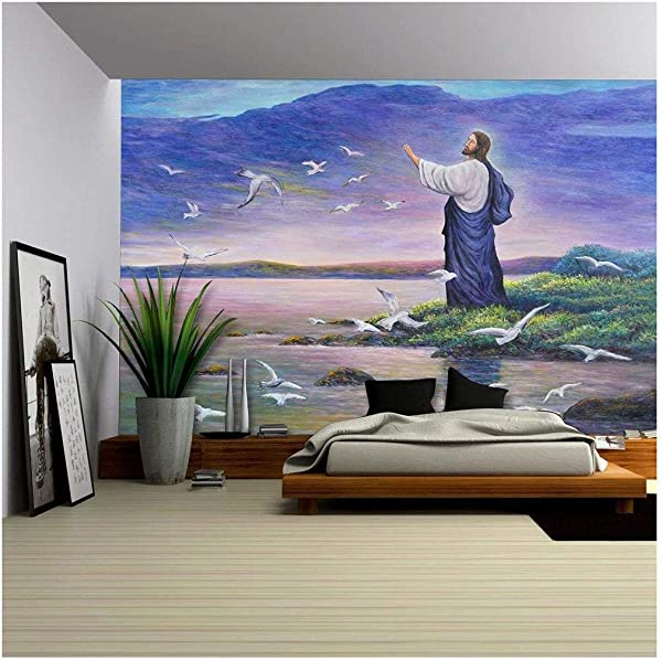Wall26 Image Of Jesus Feeding The Birds At The Seaside Original Oil Painting On Canvas Removable Wall Mural Self Adhesive Large Wallpaper 66x96 Inches