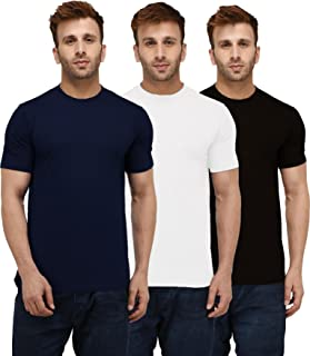 London Hills Solid Men 100% Pure Cotton Half Sleeve Round Neck T-Shirt (Pack of 3)