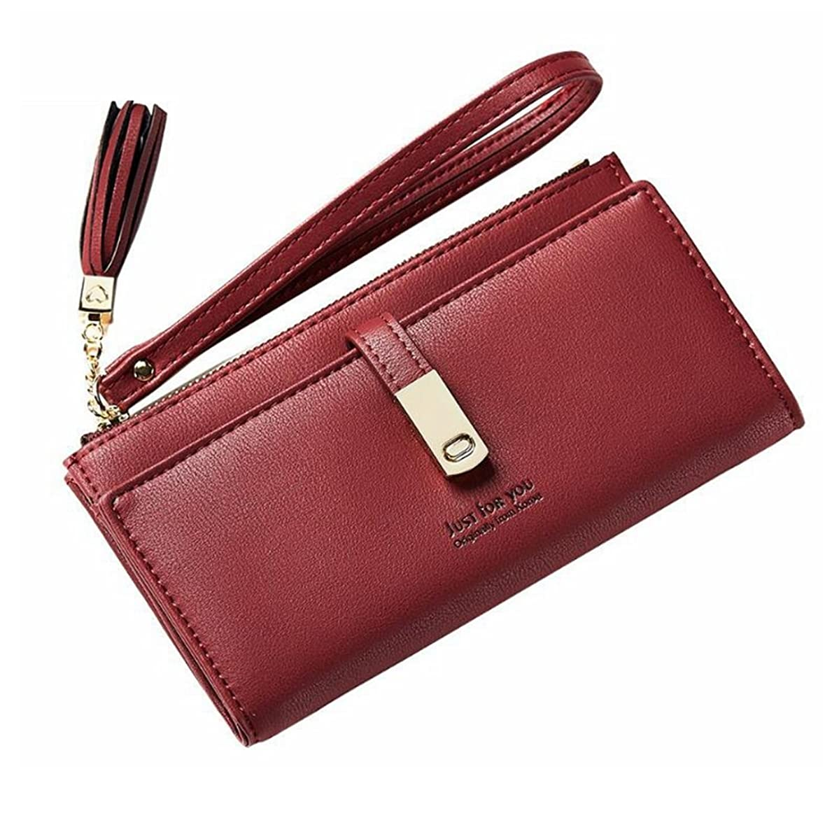 Evening Bag Bifold Wallet up Leather Card Holder Zip Around Clutch Wallet Wristlet Ladies Women Purse Party Handbag (Color : Red)
