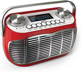 Detroit DAB Radio Alarm Clock Bedside Mains Powered Or Battery DAB/DAB+/FM Retro Radio with LCD Display Clock Radio (Red)