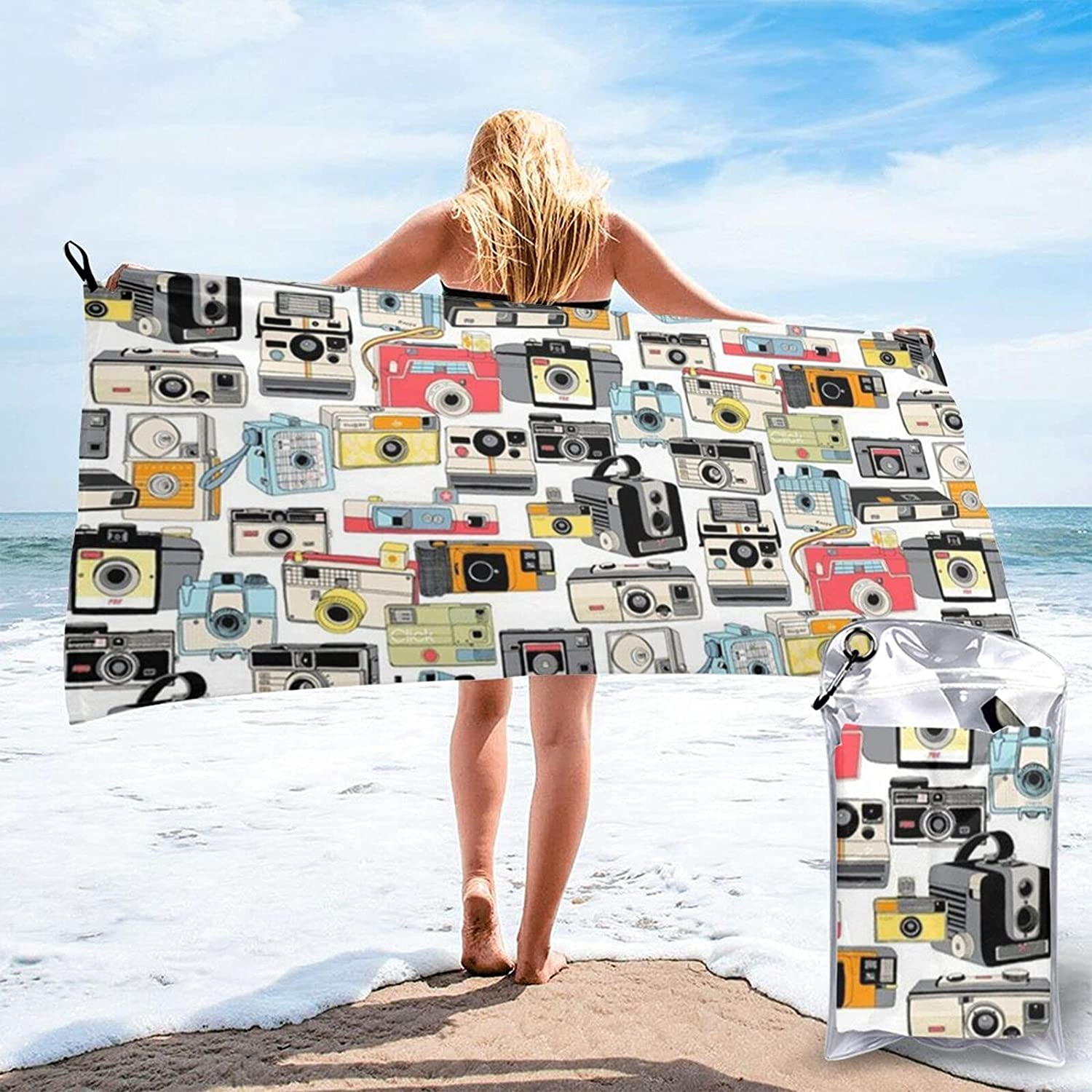 N\\A Make Clearance SALE! Limited time! Snappy Vintage Camera Max 86% OFF Towel Beach Illustrations Analog