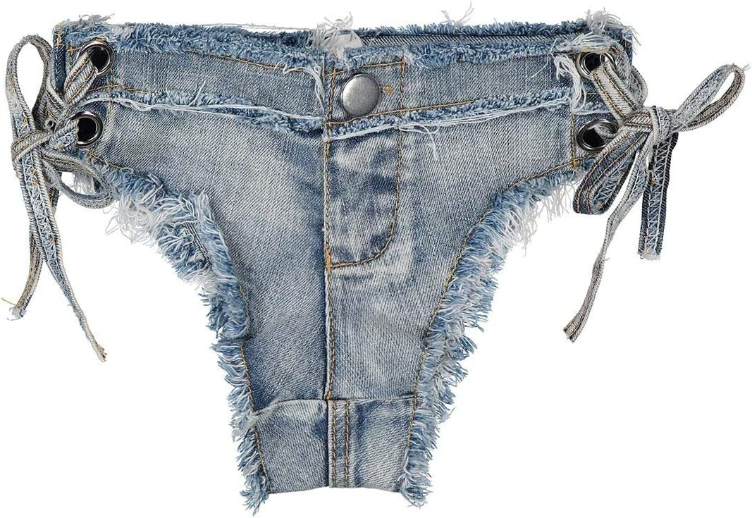 SBCDY Women's Cut Off Low Waist Booty Ripped Hole Denim Jeans Shorts Mini Hot Pants Clubwear Summer Sexy Female Nightclub Denim Shorts Hot Pants (Color : Blue, Size : Small)