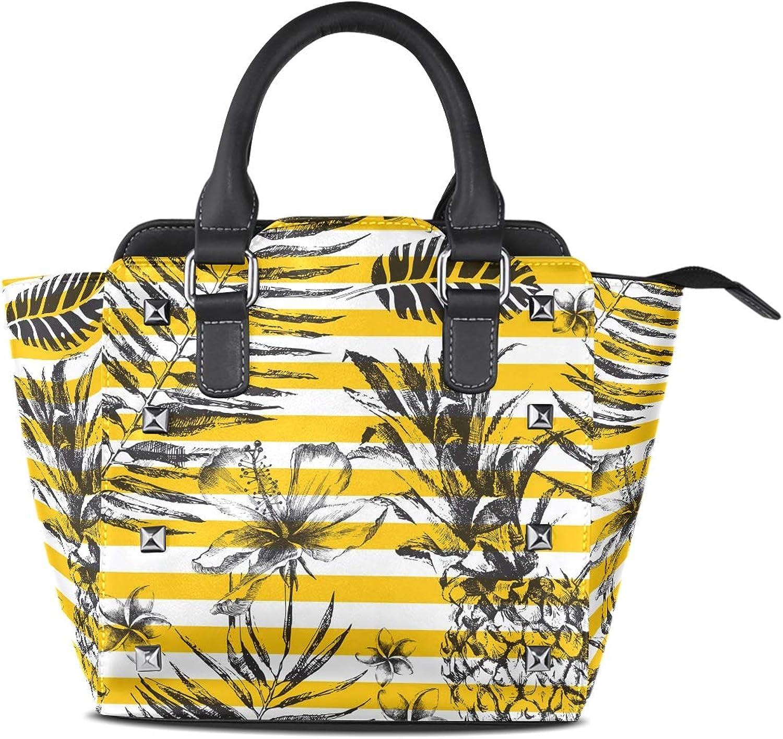 My Little Nest Women's Top Handle Satchel Handbag Tropical Palm Leaves Pineapples Striped Ladies PU Leather Shoulder Bag Crossbody Bag