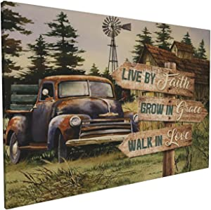 Drawpro Rustic Wall Decor Old Barn Painted Old Car Canvas Wall Art Country Farmhouse Wesome Farmlife Artwork For Bedroom Bathroom 16x24 Inch