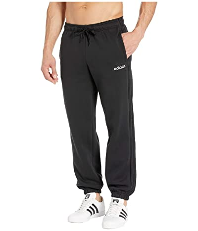 adidas Essentials 3-Stripes Fleece Open Hem Pants (Black/Black) Men