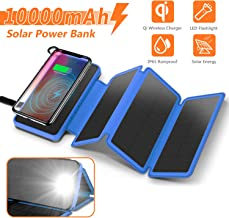Solar Charger 10000mAh, 4.5W Qi Wireless Charger Portable Power Bank External Battery Back with 3 Solar Panels, Flashlight, Dual 5V/2.1A USB Port, IP65 Rainproof for Camping Hiking Fishing(Blue)