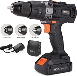Cordless Drill, Tacklife 20V Drill 2000Ah Lithium-Ion Battery with Hammer Action 1/2