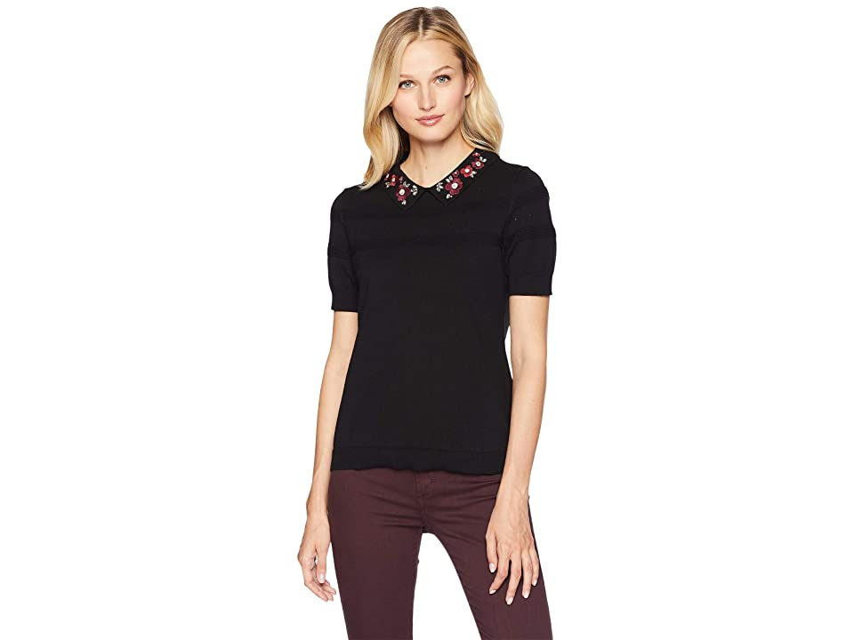 CeCe Short Sleeve Embellished Collar Pointelle Sweater (Rich Black) Women